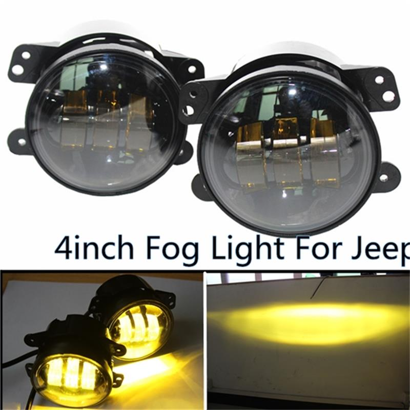 4 Inch Amber Yellow 30W Fog Lights for Jeep Wrangler 1997-2017 JK JKU TJ LJ Off Road Fog Lamp ( W/ H16 adapter) ремни lee ремень gentlemen