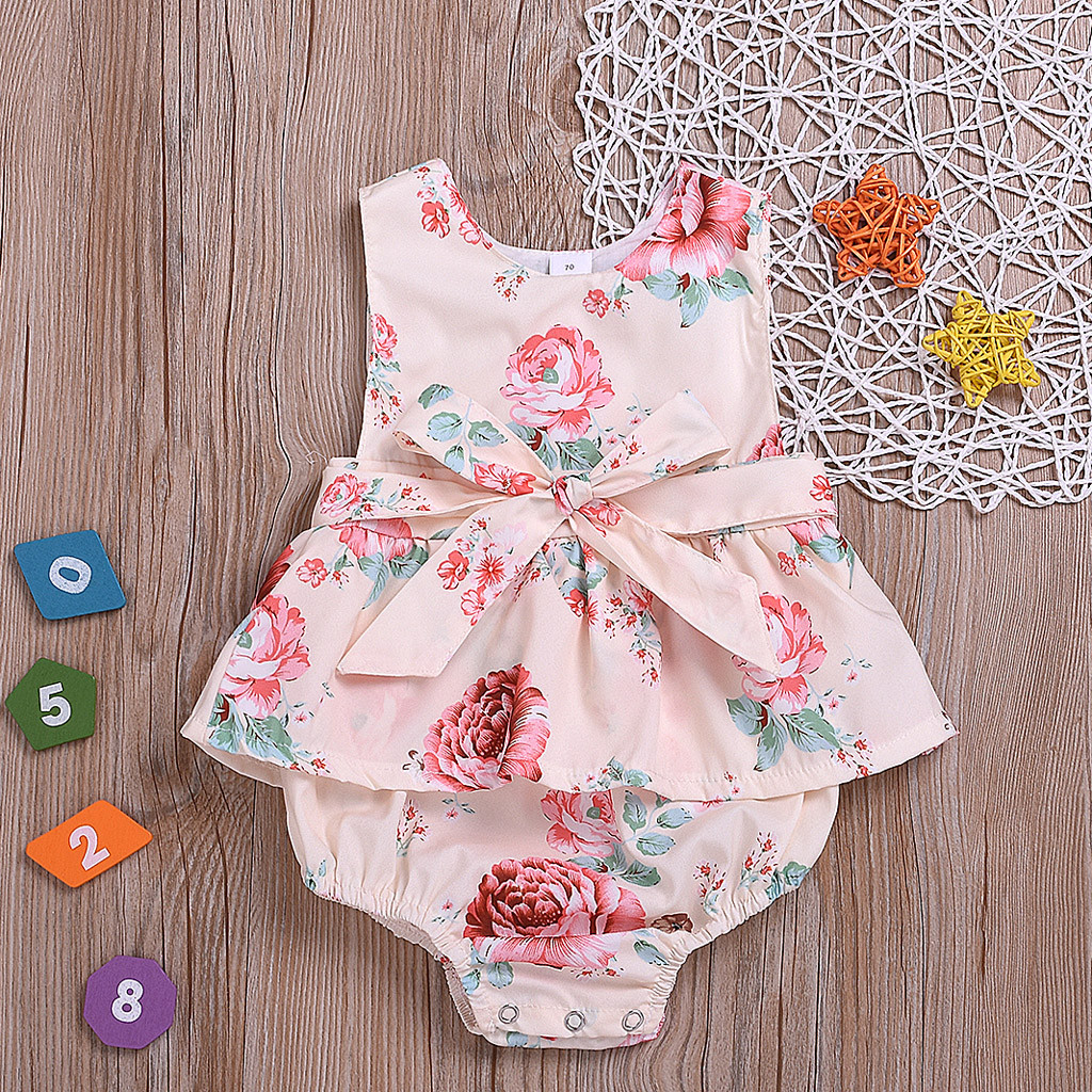 Bodysuits Infant Baby Girls Sleeveless Ruffles Solid Print Backless Romper Jumpsuit Meisjes Kleding Roupa Menina Onesies Kinder Kleider Cool In Summer And Warm In Winter