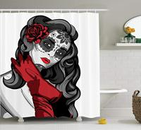 Skulls Decorations Collection, Sexy Sugar Skull Lady with Mexican Style Floral Mask Evil Gothic Dead Art Bathroom Shower Curtain