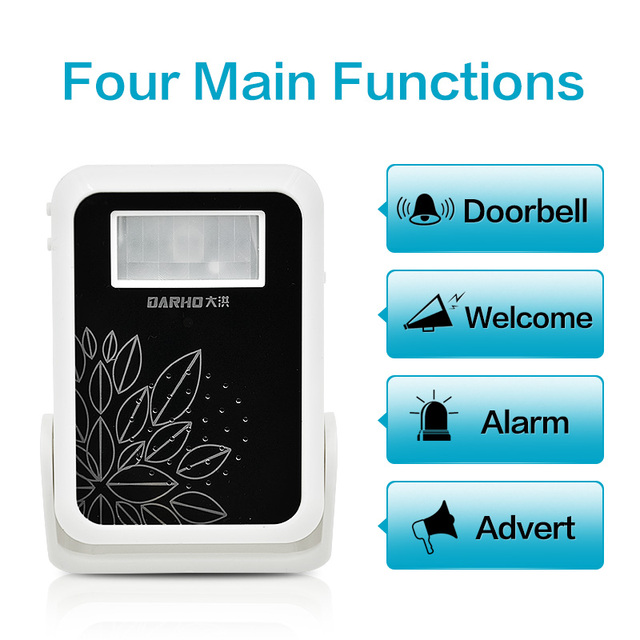 DARHO Welcome device Shop Store Home Welcome Chime  Door Bell security Alarm Chime Wireless Infrared IR Monitor Sensor detector