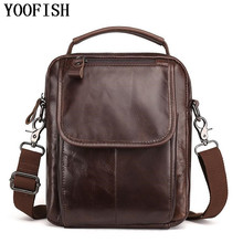 цены YOOFISH Brand 100% Genuine Leather Men Messenger Bag Casual Crossbody Bag Business Men's Handbag Bags for gift Shoulder Bags Men