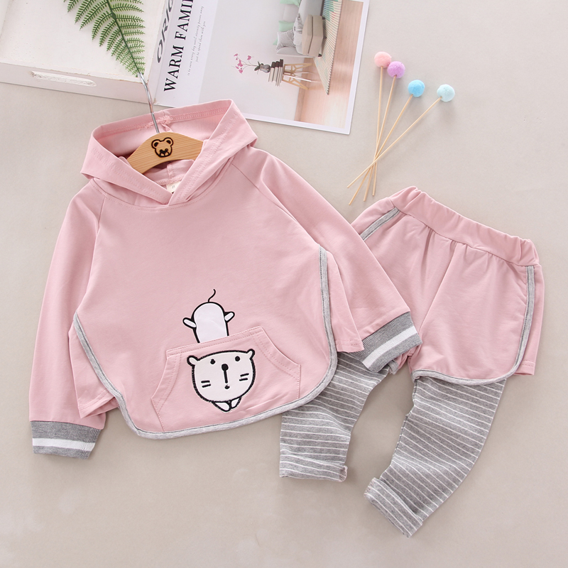 Autumn Baby Girls Clothes Long Sleeve Cartoon Cat Hoodie Sweatshirt Tops Striped Pants Trouser Costume Set in Clothing Sets from Mother Kids