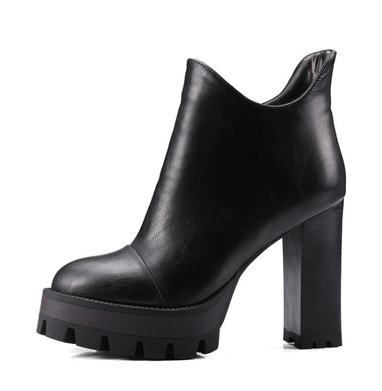 Fashion Womens Platform Chunky Heel Shoes Faux Leather Ankle Knight Boots For Women Black Brown Grey Martin Boots Big Size 42