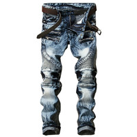New Fashion Men S Biker Jeans Pants Slim Fit Pleated Motocycle Denim Trousers Brand Designer Multi