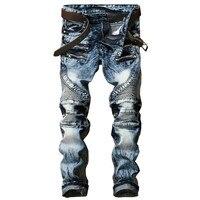 New Fashion Men S Biker Jeans Pants Slim Fit Pleated Motocycle Denim Trousers Brand Designer Multi
