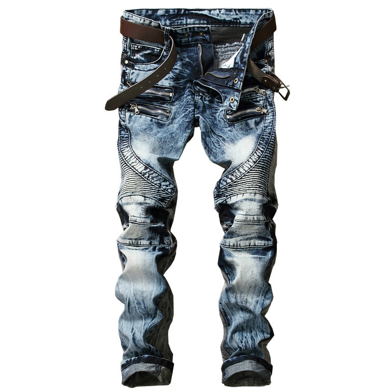 New Fashion Men's Biker Jeans Pants Slim Fit Pleated Motocycle Denim Trousers Brand Designer Multi Zippers Straight Moto Pants 2017 new designer korea men s jeans slim fit classic denim jeans pants straight trousers leg blue big size 30 34