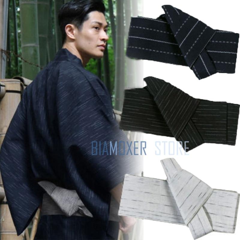 Biamoxer 17 Colours Japanese Mens Kimono Yukata Stiff Kaku Obi Belt Easy Kai No Kuchi Musubi