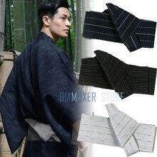Biamoxer 17 renk Japon Erkek Kimono Yukata Sert Kaku Obi Kemer Kolay Kai Hiçbir Kuchi Musubi