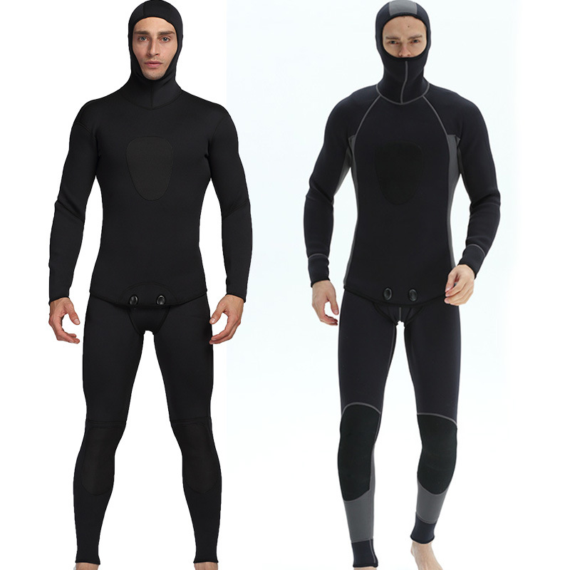 3mm Black Two-piece Set Men's Diving Suit Outdoor Warm Waterproof Diving Suit Surfing Suit For Male Size S-XXXL