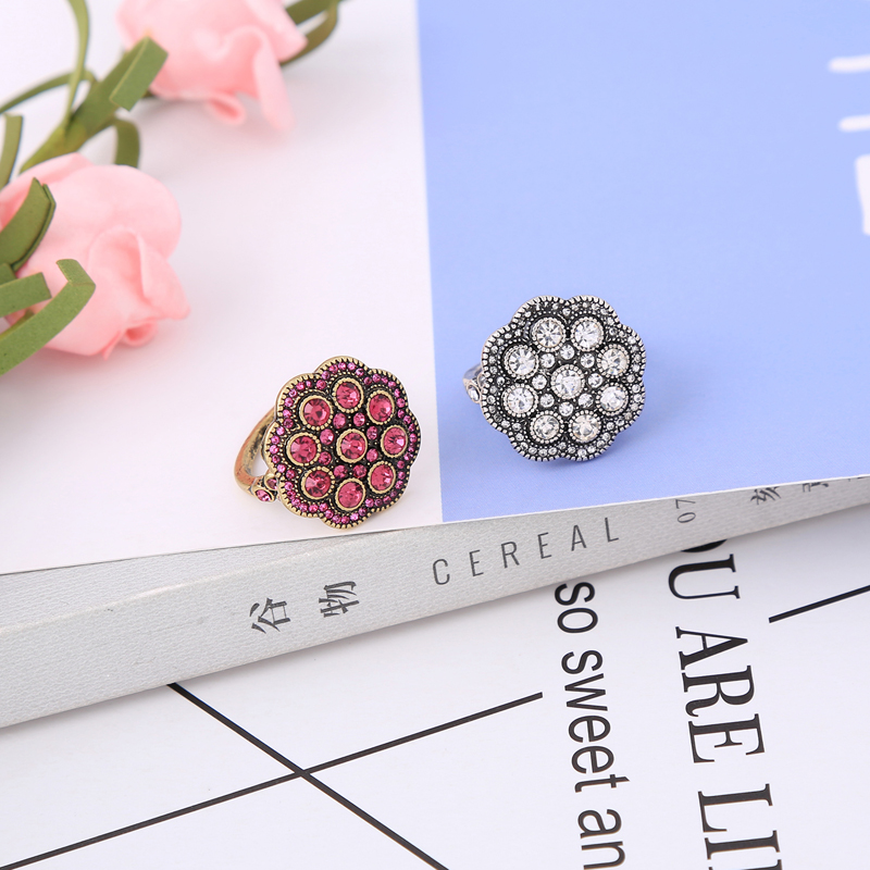 jz00190c 2018 New Red Silver Color Antique Flowers Statement Trendy Ring For Women Holiday Gift Wholesale Jewelry