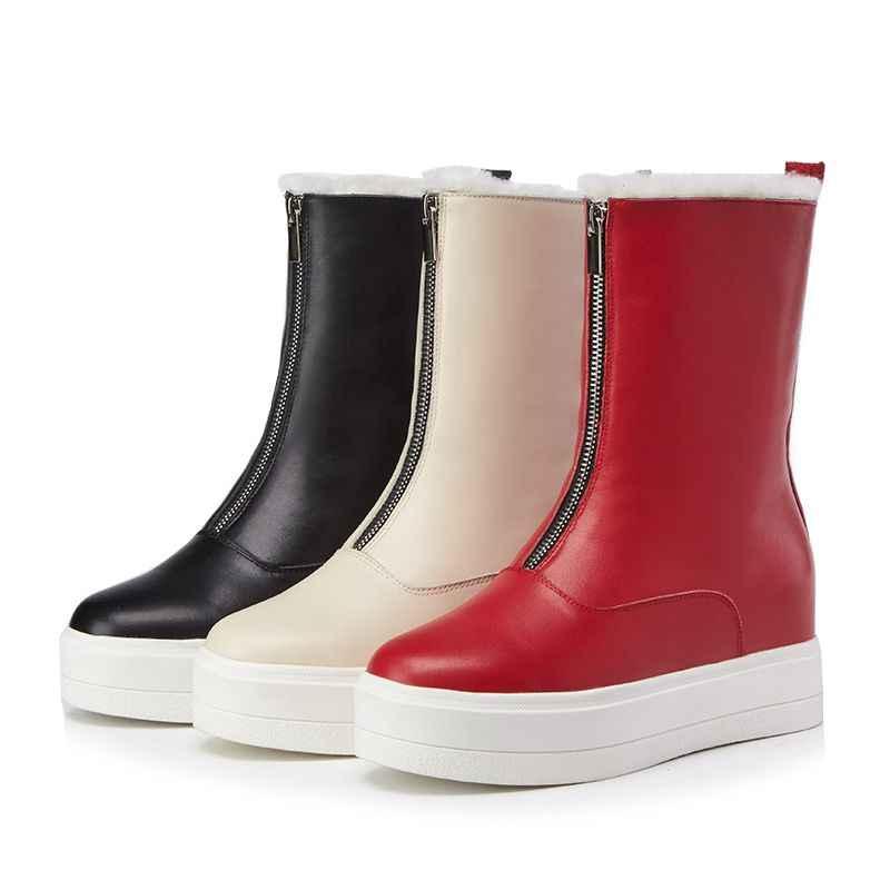 Lenkisen натуральная кожа круглый носок внутренний рост овечий мех сохраняющие тепло обувь на высокой платформе, на высоком каблуке; женские ботильоны на платформе; зимние ботинки L19