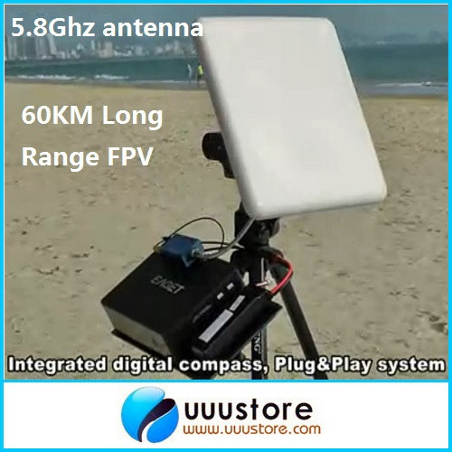 60KM Long Range FPV Antenna 5.8G 23dB High Gain Flat Panel Antenna With RP-SMA Extend Cable for FPV System fpv 5 8g 14dbi high gain panel antenna rc multirotor airplanes antenna rp sma panel antenna for fix wing airplane boscam tx page 6