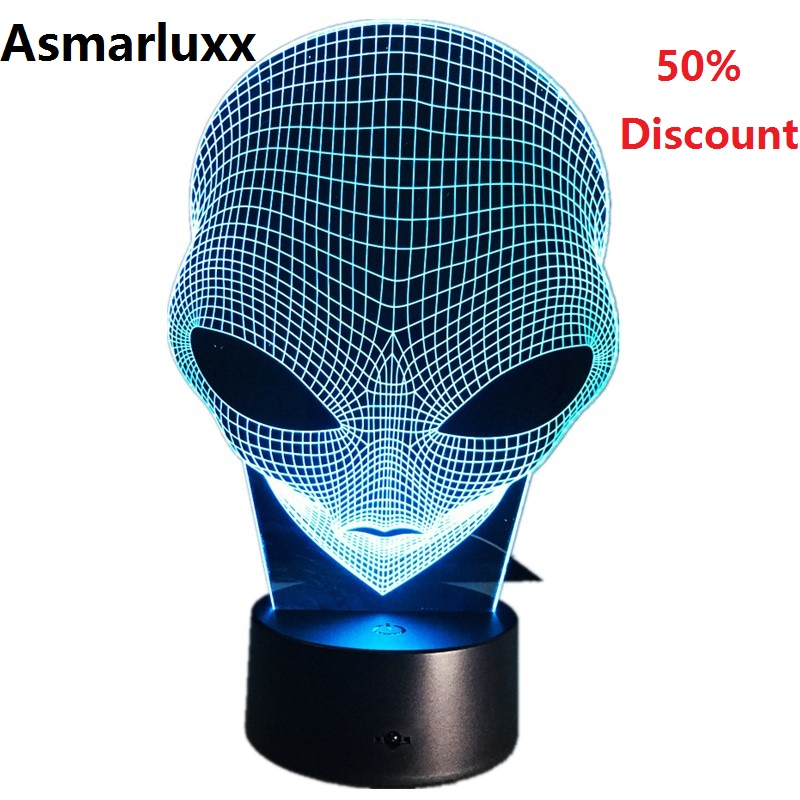 (Ship From US Or China) Alien 3D Hologram Illusion Lamp Acrylic Night Light With Touch Switch Luminaria Lava Lamp 50% Discount