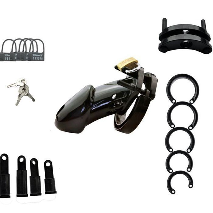 Male Black Plastic Chastity Device Cock Cages Men's Virginity Lock With 5 Penis Ring Adult Games Sex Toys For Man CB6000