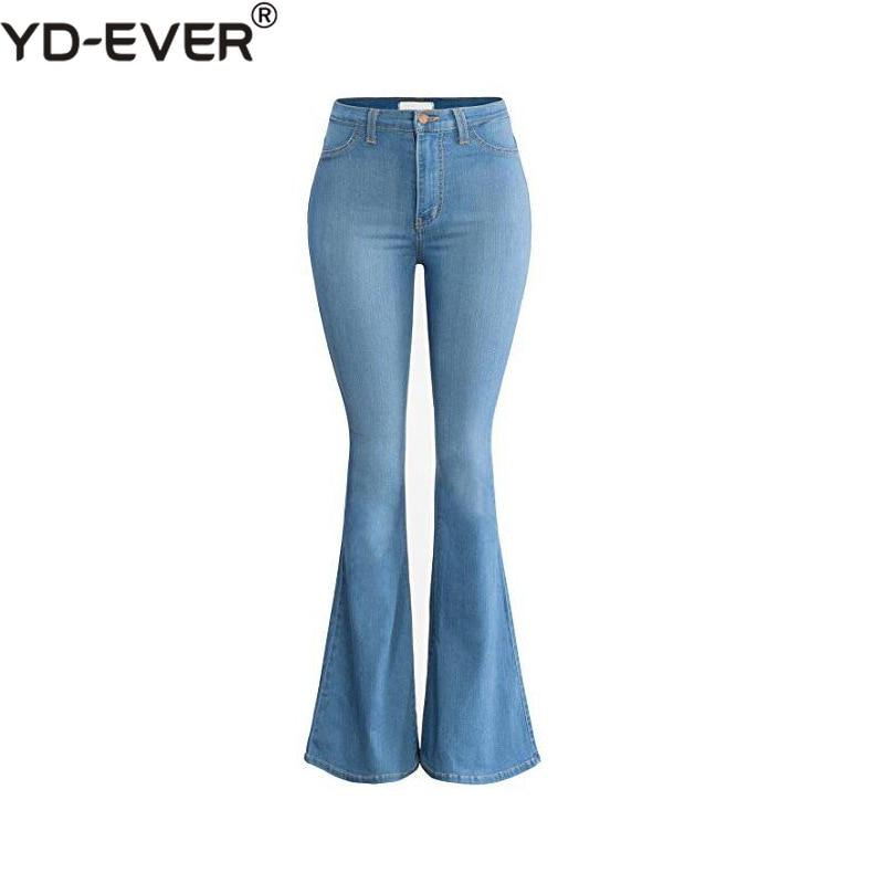 Mujeres Flare Alta Para Coreano Vaqueros azul Vintage Pantalones Cintura azul Jeans La Cielo Oficina negro Blanqueado marrón De Ancho Patchwork Beige Denim Pierna qnItwaXYY6
