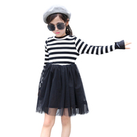 2018 Spring Autumn Girls Dress stripe Casual Long Sleeves lace Mesh Kids Dresses For Girl Autumn Clothing Cute Princess Dress