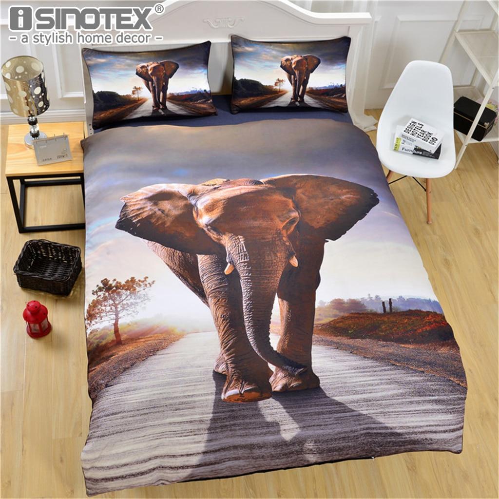 3D Bedding Set Giant Elephant Reactive Print Duvet Cover Soft Queen Sizes Animal Decorative Bed Cover Luxury 3pcs Home Textile