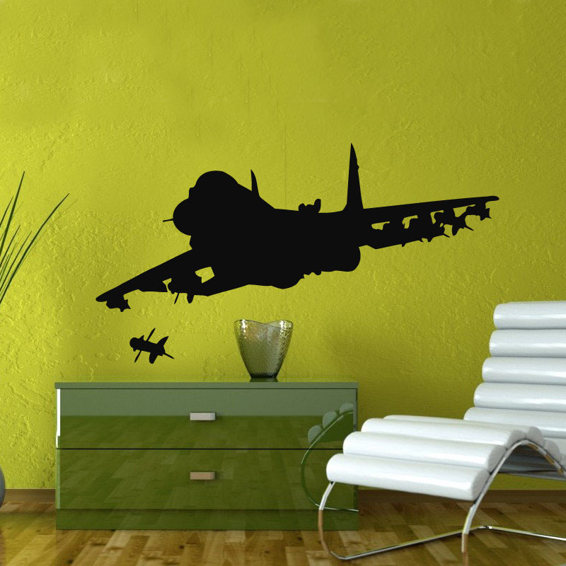 2018 New Real Neymar Military Design Fighter Firing Wall Stickers Home Decor Vinyl Removable Airplane Decals Kids Bedroom M561 image