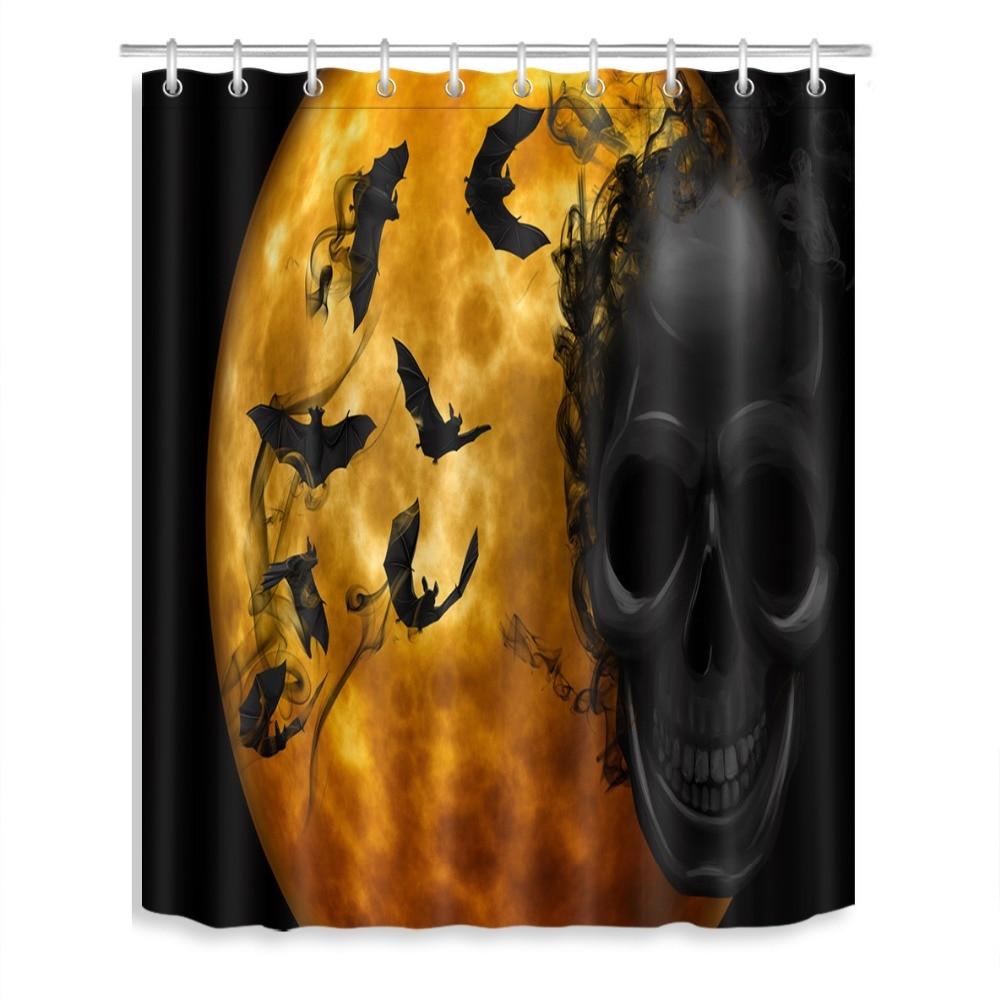 halloween skulls shower curtain