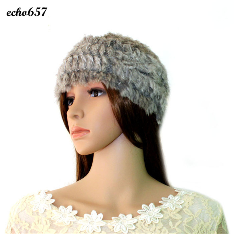 Hot Sale Women Skullies Caps Echo657 New Fashion Womens Real Rabbit Fur Knitted Hat Cap Winter Nice Quality Warm Dec 22 skullies