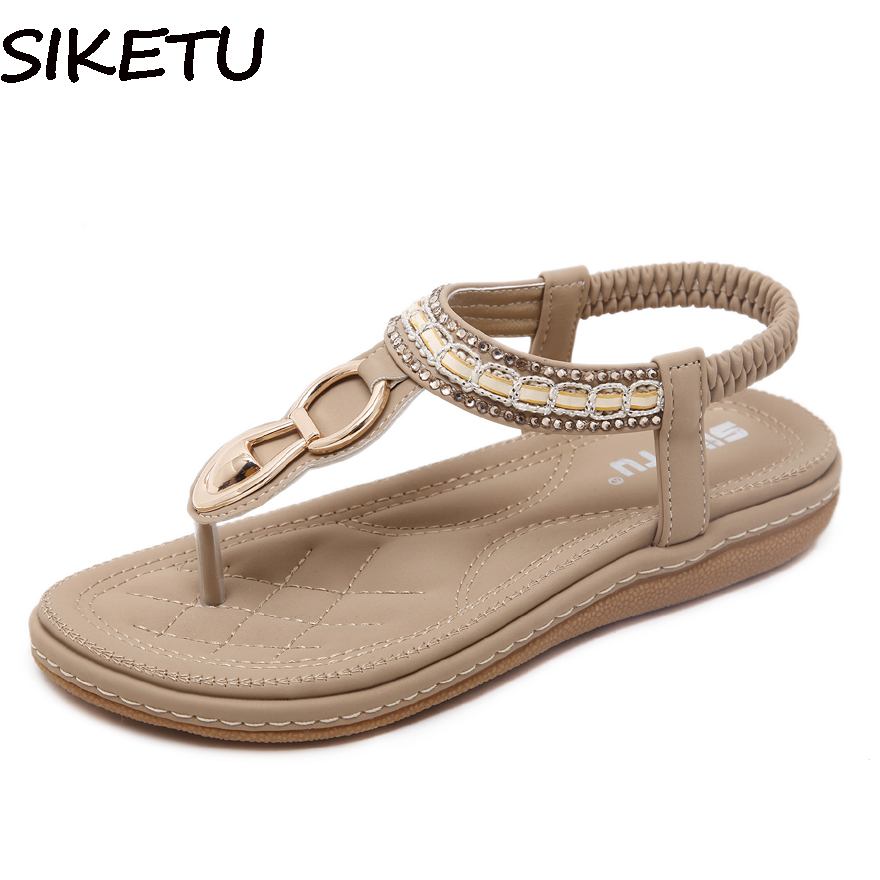 08e2e91a940da5 SIKETU Women Sandals Bohemia Ethnic String Bead Beach Shoes Casual Metal  Decoration Flip Flops Thong Flat Heels Plus Size 35-45