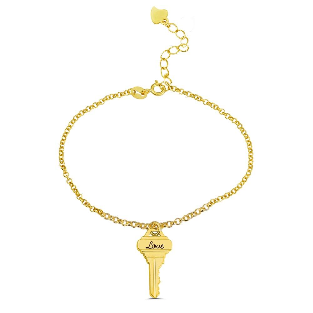 AILIN personnalisé clé Bracelet gravure clé coeur serrure Bracelet à breloques fait main bijoux Bracelet cadeaux pour les femmes