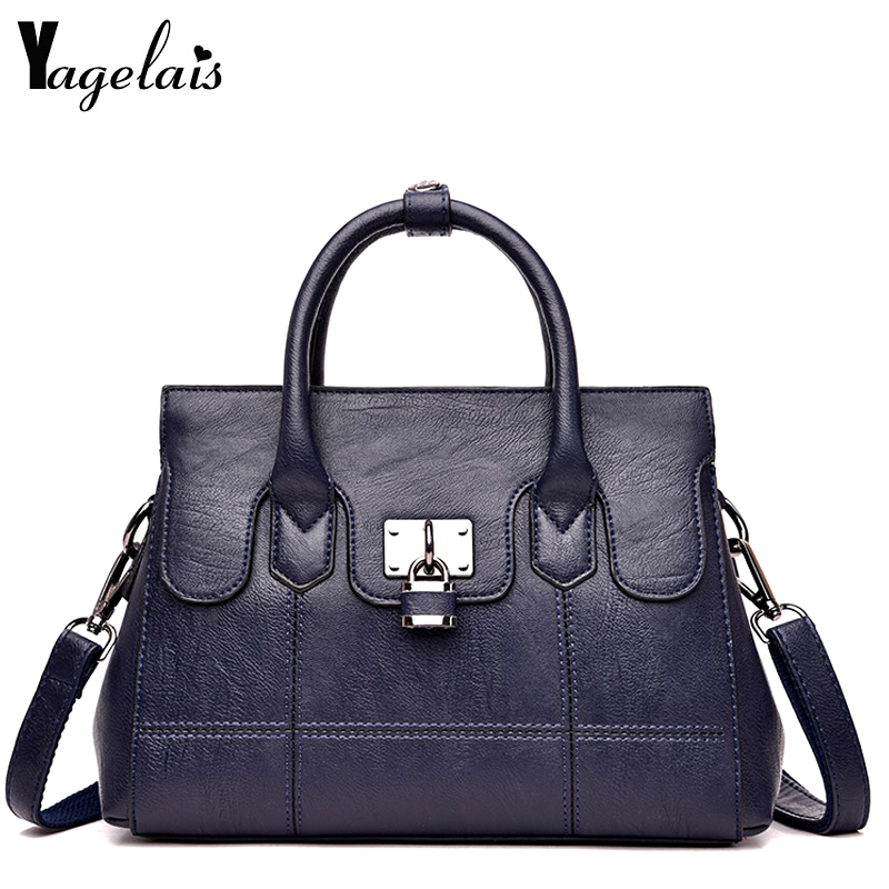 Fashion PU Leather Top-handle Women Handbag Solid Ladies Lether Shoulder Bag Large Capacity Tote Crossbody Bags For Business