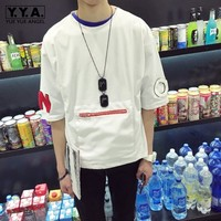 Korean Style Solid Pockets Print Tshirt Men Casual Hiphop T shirt Boy Pullover T Shirt Tee Japanese Loose Half Sleeve Top Tees