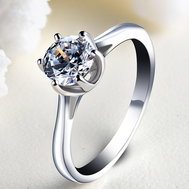 2016 New Silver Ring Authentic 100% 925 sterling silver With White Cubic  Zirconia Classic Style 5071c3d97fae