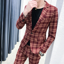 Plaid Suits Men Slim Fit 2 Piece Mens Suit With Pants Retro Tweed Streetwear Casual Tuxedo Costume Homme Terno Masculino