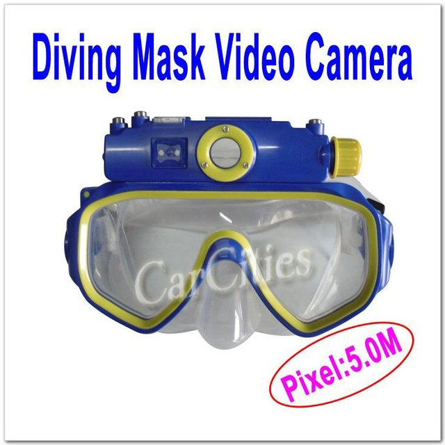 5.0 M Video Camera,Waterproof Diving Mask Video Camera built in 4GB memory,Tempered glass,strong antifog function,FREE SHIPPING