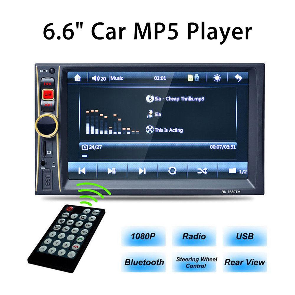 WONVON 6.6Inch MP3 MP5 Car Head Player 2DIN Bluetooth Touch Screen Multimedia FM USB/TF/AUX Rear View Black jensen multimedia receiver 6 2 inch touch screen with bluetooth