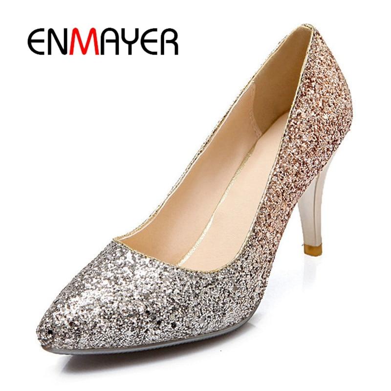 ENMAYER Women High heels Pumps Platform shoes Summer Peep Toe Summer Party Shoes Thin heels Bowtie Glitter Sequined Cloth CR637