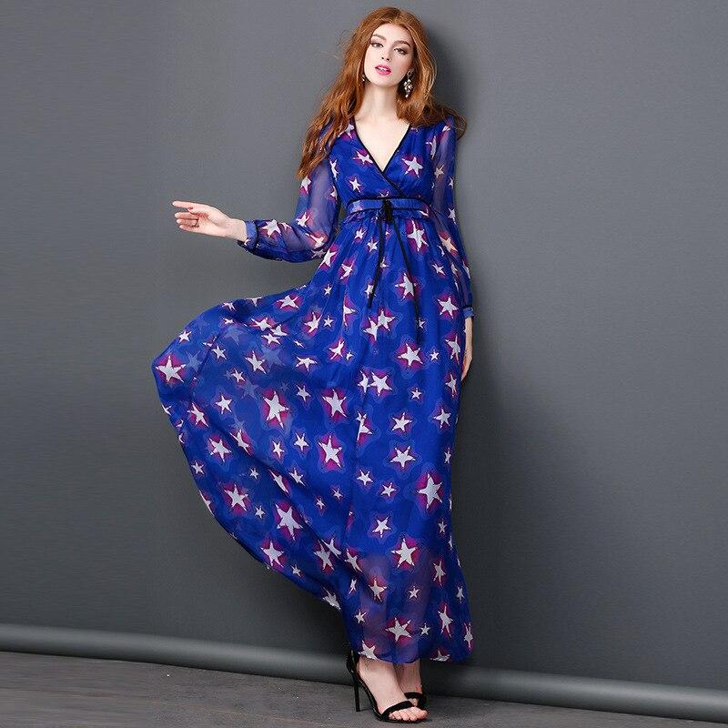Robe Femmes Mode Soie Robes En Mousseline De Maxi Longues Eté Marque Piste Étoiles Manches Imprimé Longo À Élégante Bleu Printemps V Col qBgw4WcF