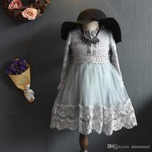 New Fall Crochet Lace Tutu Party Dress Gray and Red Color Ruffles Princess Party Dress