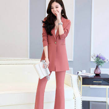 Fashion high quality women's long suit two-piece suit (jacket + pants) women's business office formal suit support customization