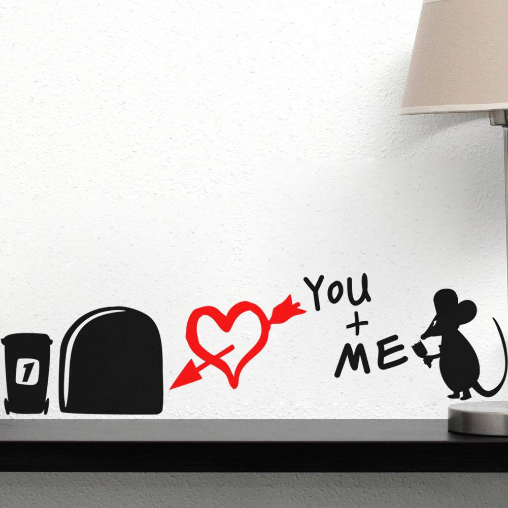 Charming Aliexpress.com : Buy I Love You So Much 3d Funny Mouse Hole Wall Stickers  Decals Living Room Bedroom Wall Art Wallpaper Mural Wedding Decoration From  ... Part 15