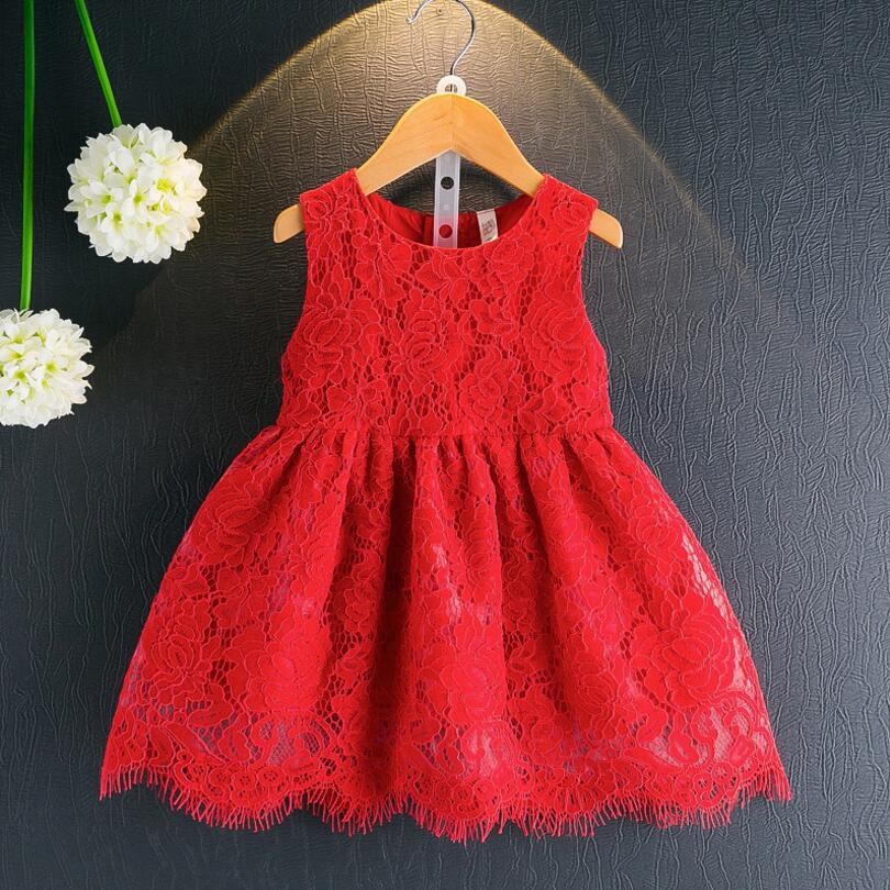 509995156ab7 2017 New Summer Red Sleeveless Toddler Clothes Princess Girl Lace Dress  Child Baby Girls Party Birthday