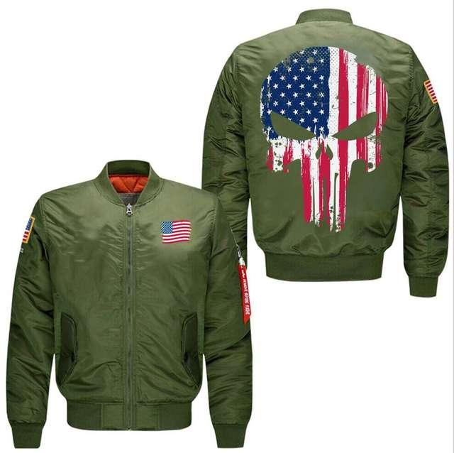 AMERICAN FLAG SKULL PUNISHER BOMBER JACKET
