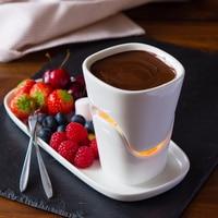 Pentola Calda Fonduta di cioccolato Formaggio piatto Caldo set di ceramica Set da Menu ice cream Hot pot Regalo candela O forchette San Valentino regalo