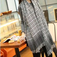 Plaid Tartan Classic Black White Couples Autumn Winter New Double-sided All Matched Tassel Cashmere Pashmina Scarf Shawl