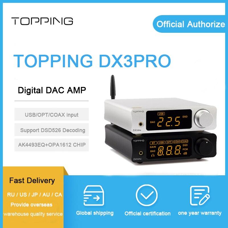GARNITURE DX3 Pro DAC AMP xmos xu208 AK4493EQ + OPA1612 décodage dsd 512 soutien Bluetooth ATPX coaxial/optique/ usb Casque Amp