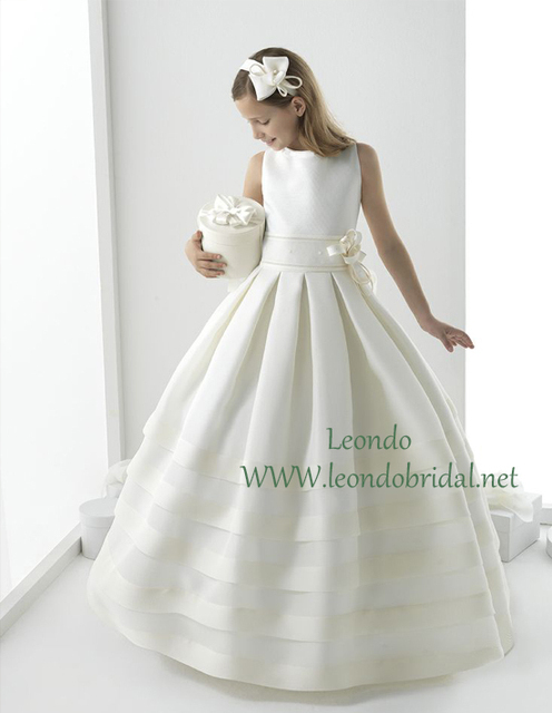 2015 First Communion Dresses White Scoop Tank Ball Gown Floor Length