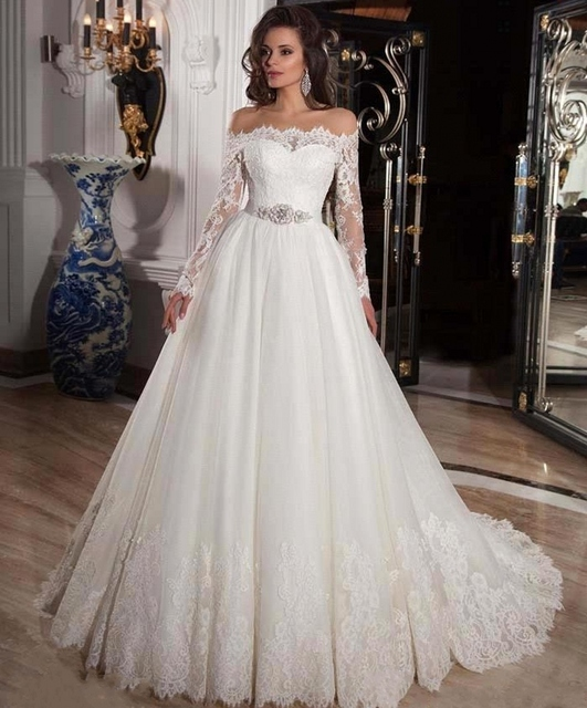Sexy Vintage Princess Bridal Bride Ball Gown Long Sleeve Lace ...