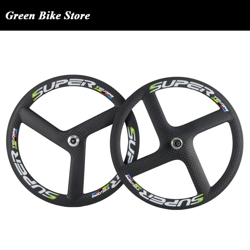 Rear 70mm Tri Spokes Carbon Wheels Road Bike Cycling 3 Spokes Back Wheel TT Bike