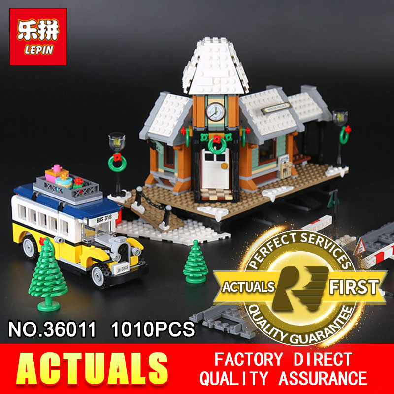 Lepin 36011 1010Pcs Genuine Creative Series The Winter Village Set Building Blocks Bricks DIY Educational Toys Model 10259 lepin 36010 genuine creative series the winter village market set legoing 10235 building blocks bricks educational toys as gift