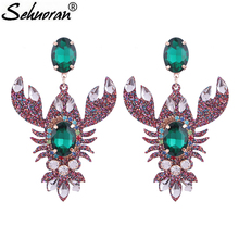 Sehuoran Aretes Resin Pendients Lobster Crystal Earrings For Woman 2018 New Hot Sale Wedding Earrings Luxury Oorbellen Jewelry