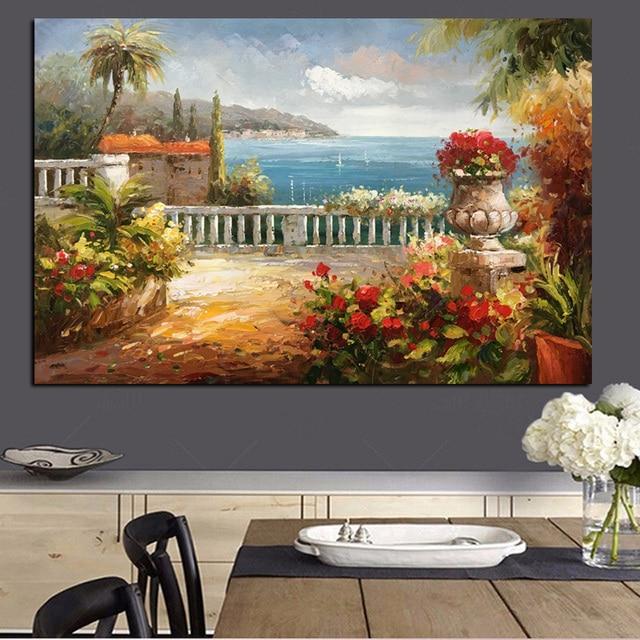 Dipinta a mano Astratta Dipinti Moderni Acrilico Lago Garden ...