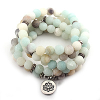 GVUSMIL Fashion Women S Matte Amazonite 108 Mala Beads Bracelet Or Necklace High Quality Lotus Charm
