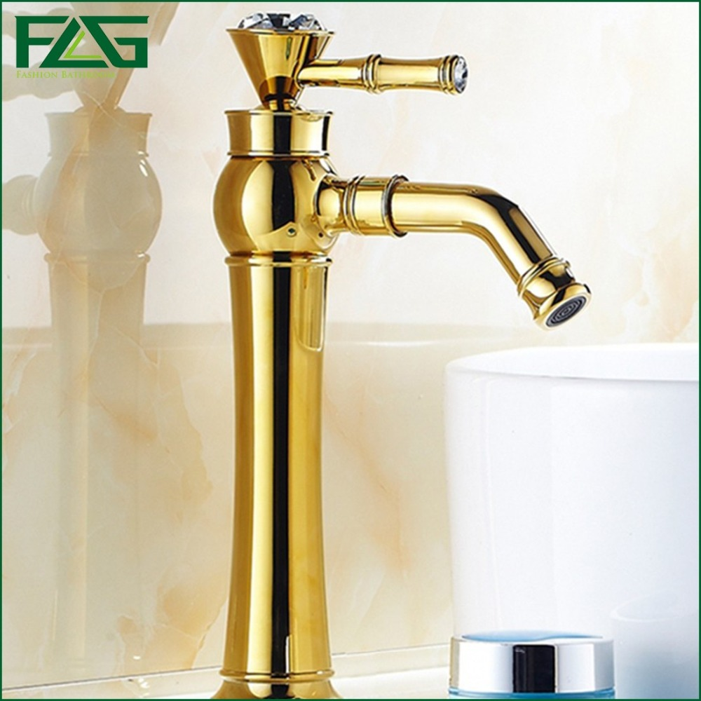 ФОТО FLG Fashion Style Bath Mat Nobility Gold Deck Mounted 360 Swivel Spout Crystal Faucet Handles Golden Color Mixer Tap Faucet M127